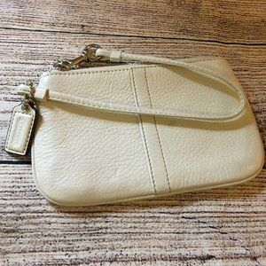 COACH Small Parchment White Leather Wristlet
